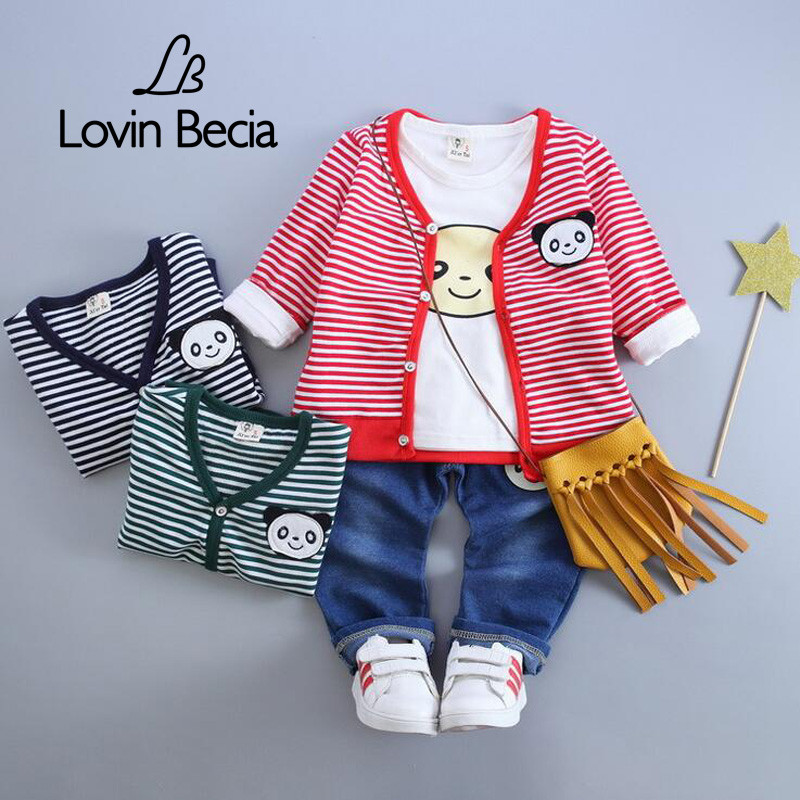 LOVIN BECIA 3 pcs / set Jeans costume cardigans coat children clothing for kids a toddler girls boy baby denim Clothes set pants яйцерезка fackelmann polonia