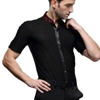 customize black short sleeves Waltz Latin modern Dance Top Men Latin Dance Shirts Men Dance Shirt