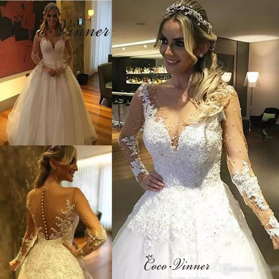 Sheer Neck Custom Made Vestido De Noiva Princesa Wedding Dress Long Sleeve Robe De Mariee Wedding Gowns Bride Dress W0338
