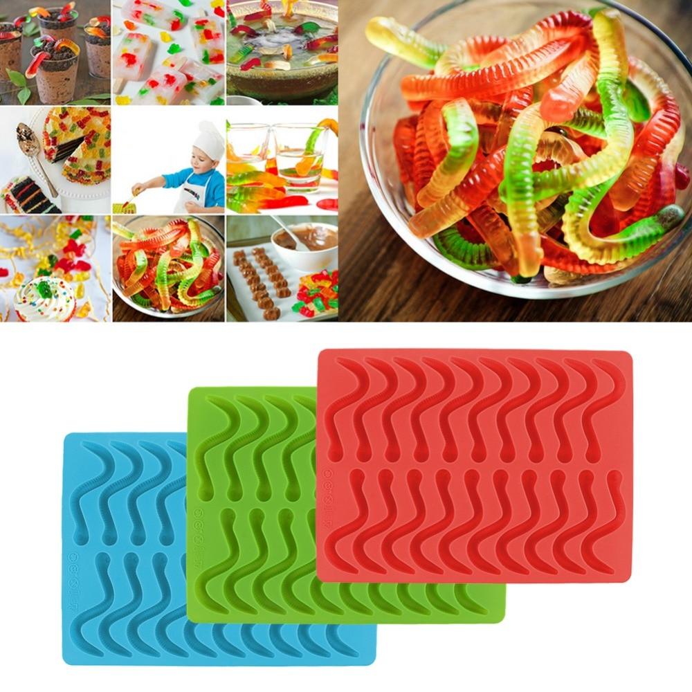 งูหนอนรูปแม่พิมพ์ช็อคโกแลตสร้างสรรค์เด็ก Diy G Ummy ฮาร์ดลูกอมช็อคโกแลตซิลิโคนแม่พิมพ์เค้กตกแต่งจัดส่งฟรี