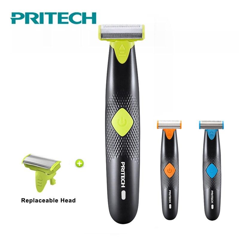2018 PRITECH una cuchilla afeitar eléctricas para los hombres cara cuerpo axilas Hair Remover máquina de afeitar barba Trimmer Portable Navajas