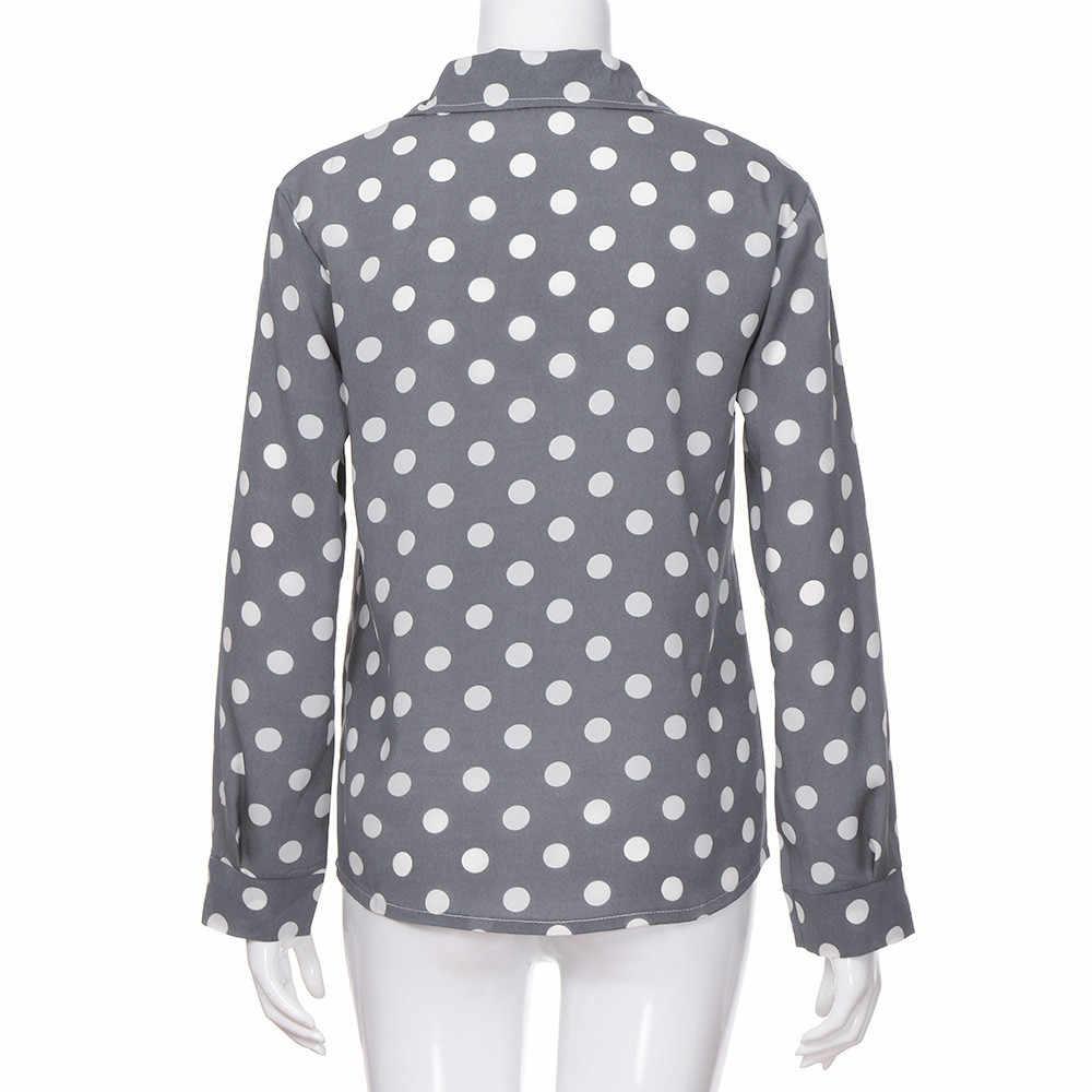 ISHOWTIENDA הגעה חדשה חולצה חולצות נשים עבודה במשרד דוט הדפסת אפור מזדמן ארוך שרוול חולצה חולצות haut femmes מצב Blusas