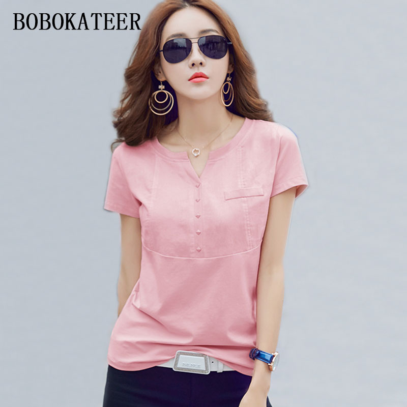 BOBOKATEER slim white plus casual size cotton t shirt haut women V-neck t shirts women summer tops t-shirts funny t shirts