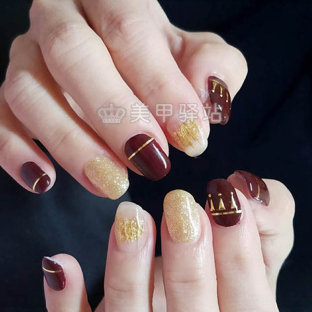 Online Shop 1potlot Newest Design Nail Art Gold Silver Diy Metal