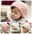 Piel de conejo sombrero de la boina para niños, baby girls gorros, gorras, sombrero del bebé del ganchillo hecho a mano apoyos de la fotografía, del Recién Nacido sombrero de invierno #2C2511
