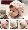 Rabbit fur beret hat for kids,baby girls caps beanies,baby hat crochet handmade photography props,Newborn winter hat #2C2511