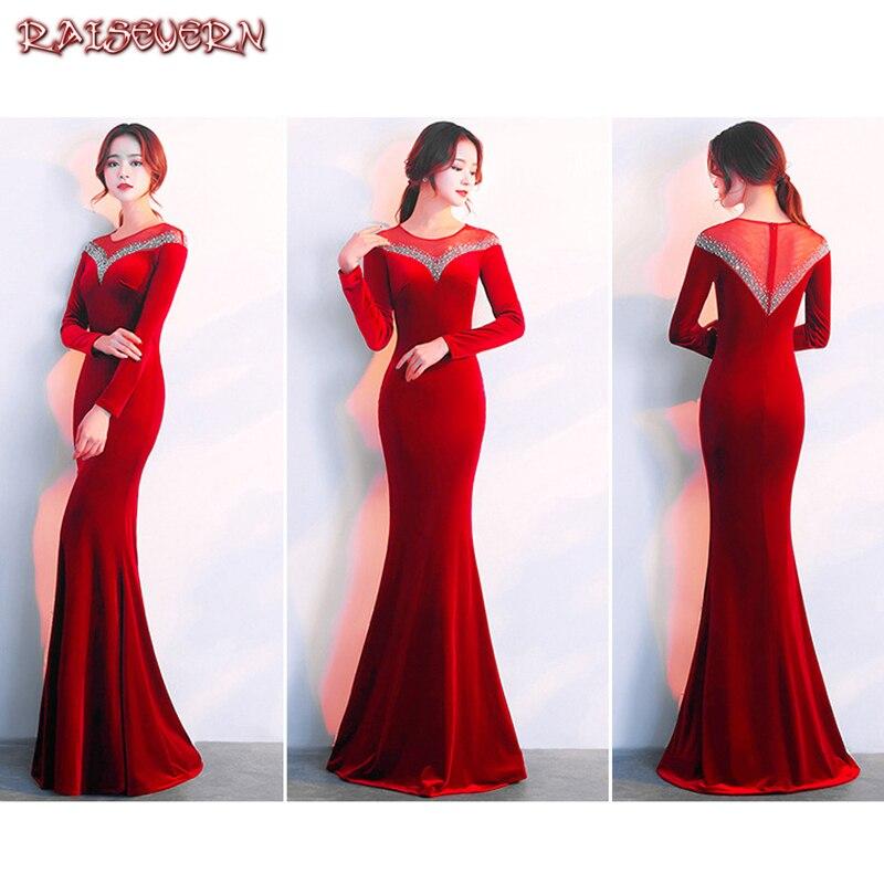 RAISEVERN rouge paillettes sirène soirée robe de soirée à manches longues femmes élégantes formelle élégante robe de soirée Sexy robes 2018