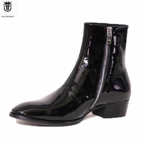 FR LANCELOT Solid Black Patent Genuine Leather Side Zipper Men Chelsea Boots Flats High Top Trainers