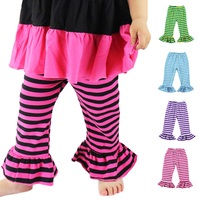 Hot Sale Spring Autumn New Style Children Ruffle Elastic Force Pencil Pant Girl Ruffles Trousers Striped Kids Pants Wholesale