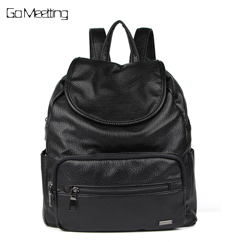 Go Meetting Women Backpack Leather Backpacks Softback Bags Brand Bag Preppy Style Bag Casual Backpacks Teenagers