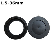 Discount! Enlarged Diameter 1.5-36 mm Zoom Optical Iris Diaphragm Aperture Condenser with 14 Blades for Digital Camera Microscope Adapter