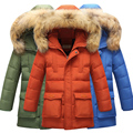 Large Boys Children Winter Long Duck Down Jacket with Fur Hooded Kids Zipper Warm Thickening Russia Outerwear Coat for 8-9-10y