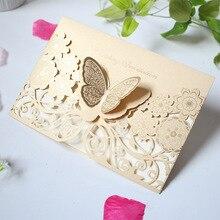 Трехмерная открытка-бабочка, креативные лазерные вырезы, свадебные, Помолвочные, вечерние, приглашения на День святого Валентина, свадьбу, годовщину