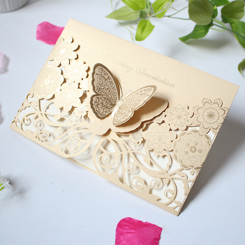 50pcs Three-dimensional butterfly card creative laser cutout wedding engagement party invitation Valentines Day anniversary