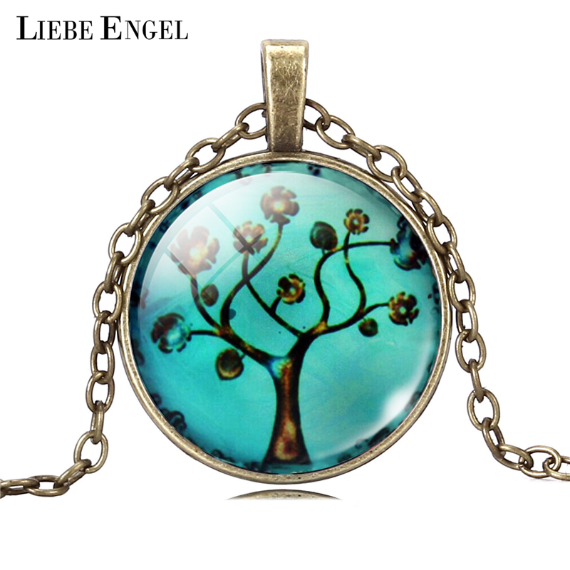 LIEBE ENGEL Fashion Christmas Tree Necklace Silver Color Statement Necklace Women Jewelry Bronze Sweater Collares Women