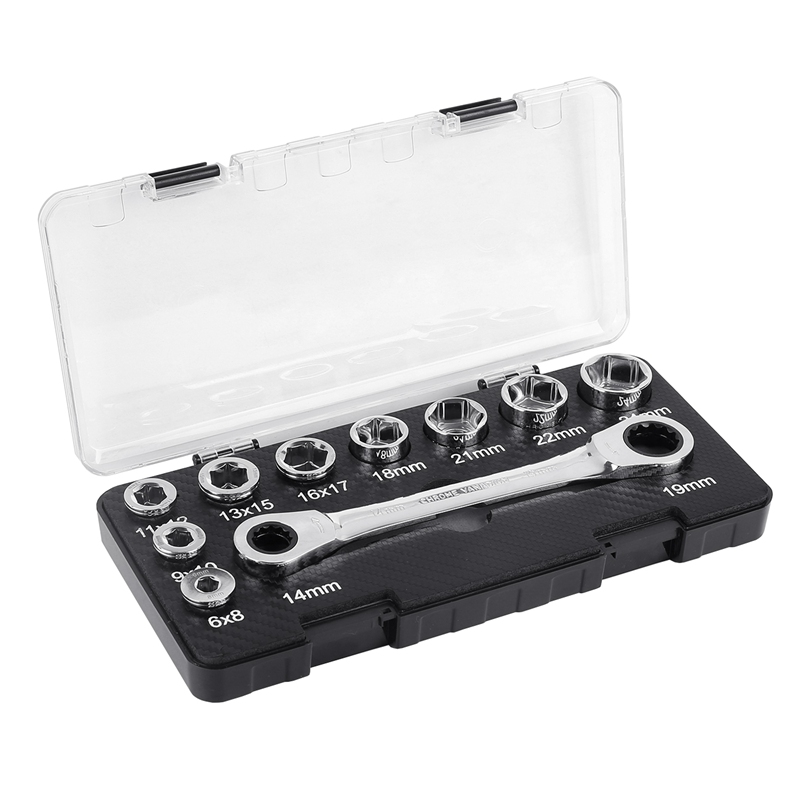 16 IN 1 Fixed Ratchet Wrench 6-24mm Socket Spanner Adapter Drive Socket Torque Wrench Socket for Bike/Car Repair Tools