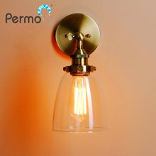 PERMO Vintage Antique Bronze Clear Glass Lampshade Wall Lamp Metal Wall Sconce Lights E27 loft Light Fixture Home Decoration(China)