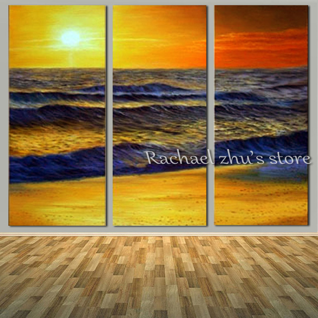 Hand Painted Abstract Seascape Beach Oil Painting On Canvas Three ...