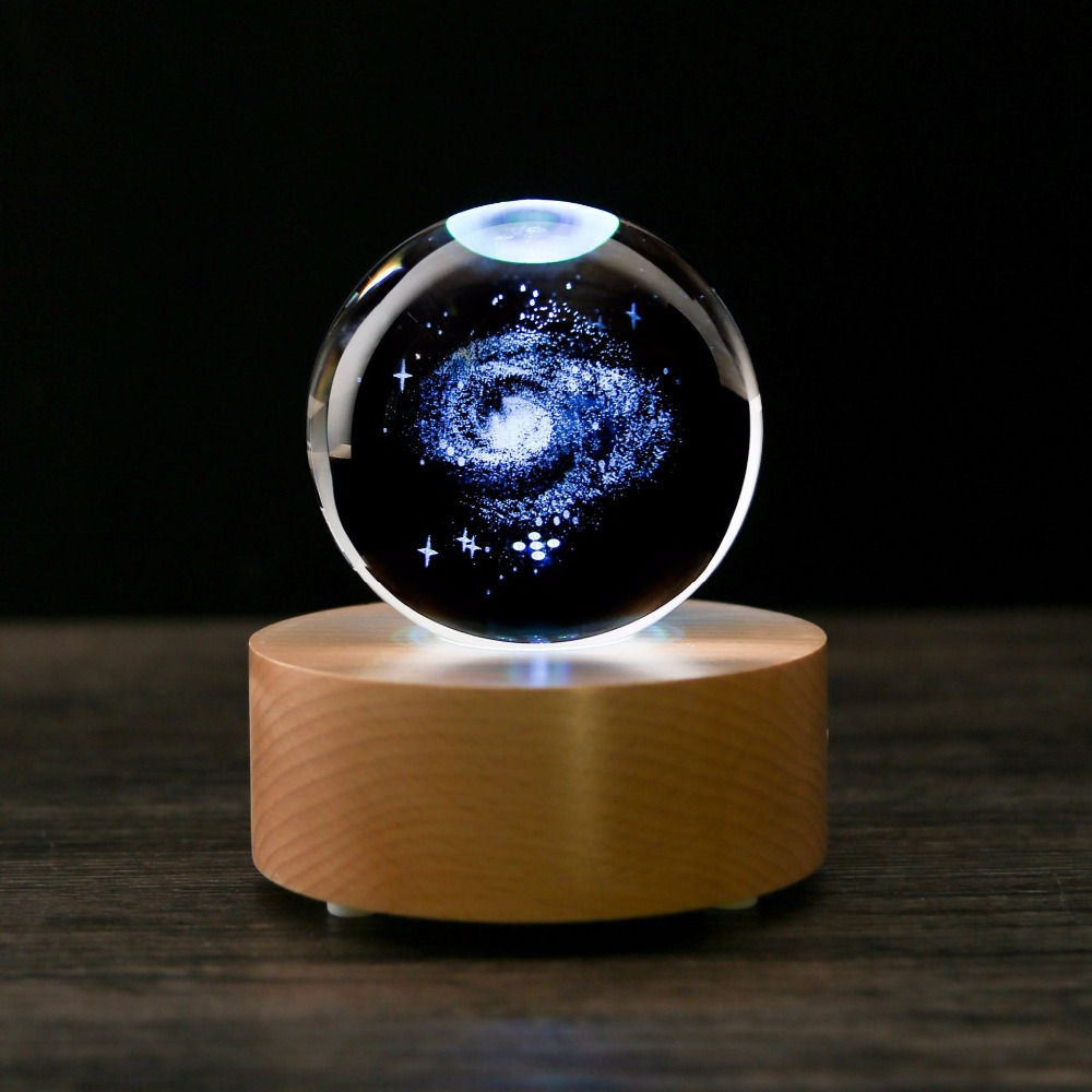 Personalized 3D Laser Engraved Crystal Ball Quartz Glass Sphere Miniatures Gifts Holiday Birthday Present Accept Custom