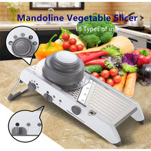 NEW 18 Type of Use Mandoline Vegetable Slicer Stainless Steel Multifunctional Fruit Onion Potato Cutter Chopper Kitchen Gadgets