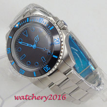 цена 40mm Bliger Black Sterile Dial Blue numbers Ceramic Bezel Deployment Clasp Date Automatic movement men's Watch онлайн в 2017 году