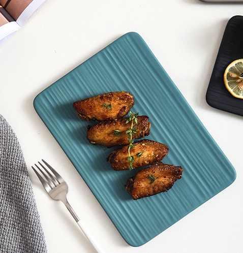 Прямоугольная плоская тарелка, крылышки на гриле, подставка для горшка, Ланч-бокс, миска, контейнер для еды, обеденные тарелки, пищевая тарелка
