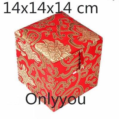 Boîte de rangement en tissu Cube carré en bois chinois de luxe boîte de rangement en soie bijoux en brocart artisanat en pierre boîte d'emballage cadeau Collection - 2