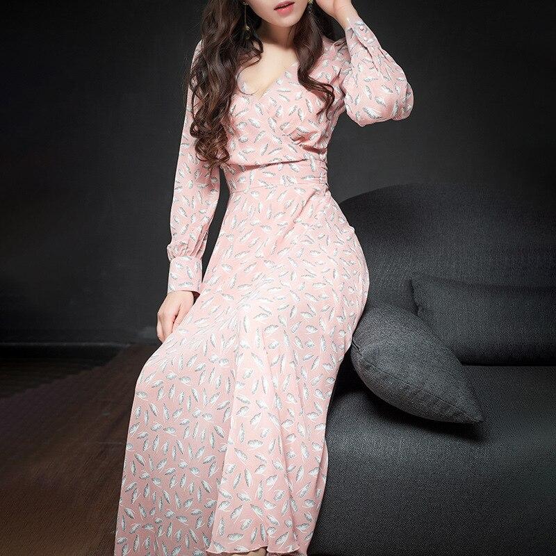 Fleurs Ultra Mousseline Printemps As cou De Robe En Avec Femmes Semble Impression V Mode 2019 Picture Longue Frais 84OPOw