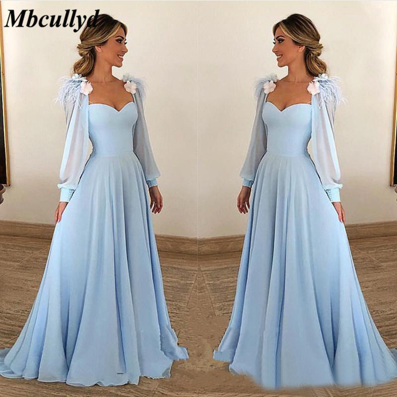 Stretchy Satin Long Bridesmaid Dresses For Women 2019 Ruffles Detachable Long Sleeves Hand Made Flowers Formal Party Dress Gown