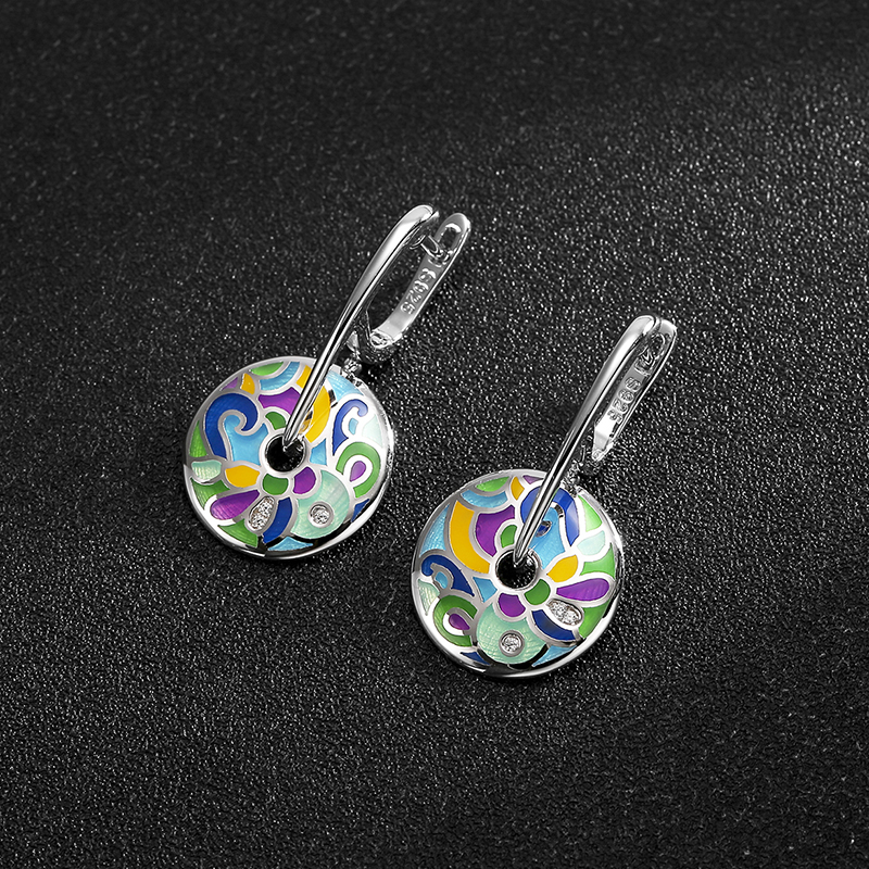 цена Hot sale 925 Sterling Silver Drop Earrings Colorful Enamel handmade Party Fashion Jewelry for women Accessories gift 2018