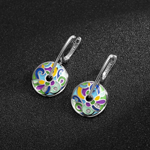 Hot sale 925 Sterling Silver Drop Earrings Colorful Enamel handmade Party Fashion Jewelry for women Accessories gift 2018