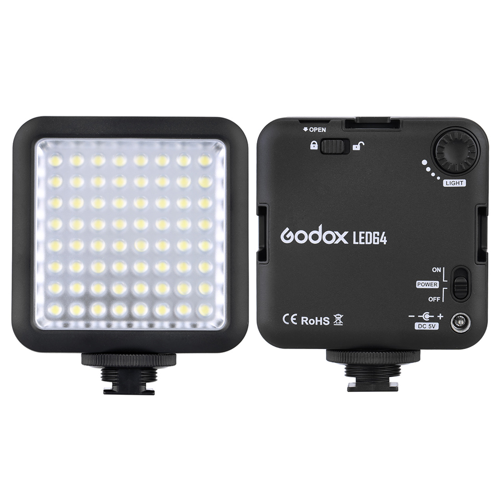 Godox 64 Luz de vídeo LED para cámara DSLR cámara mini DVR como llenar Fotografia iluminación para macrofotografía Nikon Canon Sony