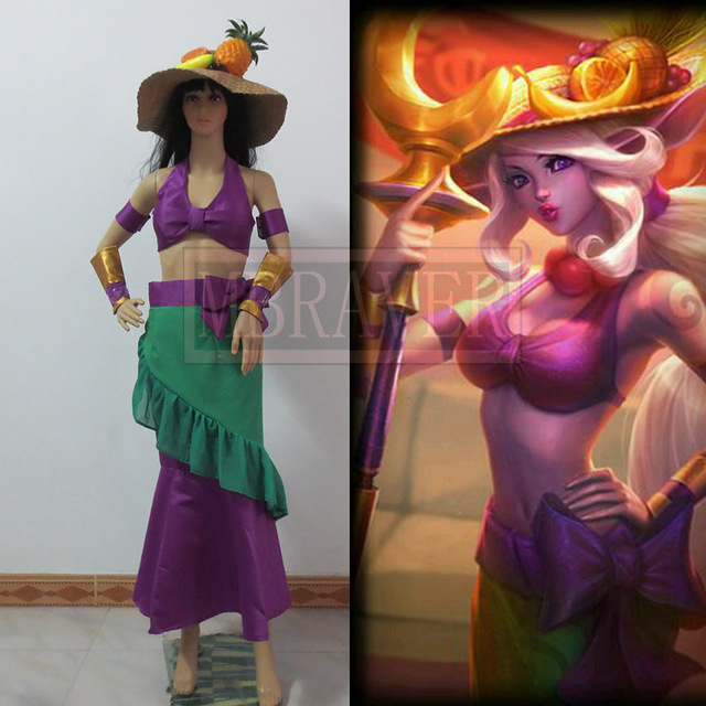 Lol Soraka Banana Customized Uniforms Cosplay Costume Free Shipping