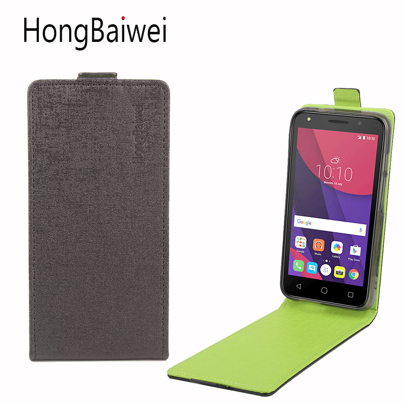 HongBaiwei Cover for Alcatel One Touch Pixi 4 5045X Case Flip Luxury Leather Fashion Hit Color Mobile Phone Case