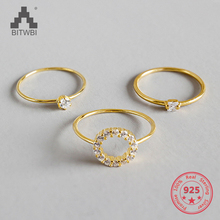 S925 Sterling Silver Three Creative Designs Mini Crystal Rings Jewelry