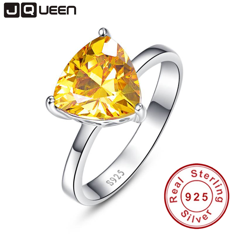 100% 925 Sterling Silver Natural Citrine Rings For Women Female Triangle Ring Finger Famous Original Jewelry Fine Jewelry