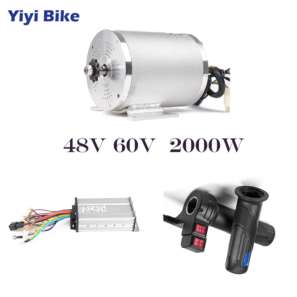 48V 60V 2000W Electric Motor For Bicycle Conversion Kit Electric Scooter Brushless Motor Controller With Reverse Twist Throttle