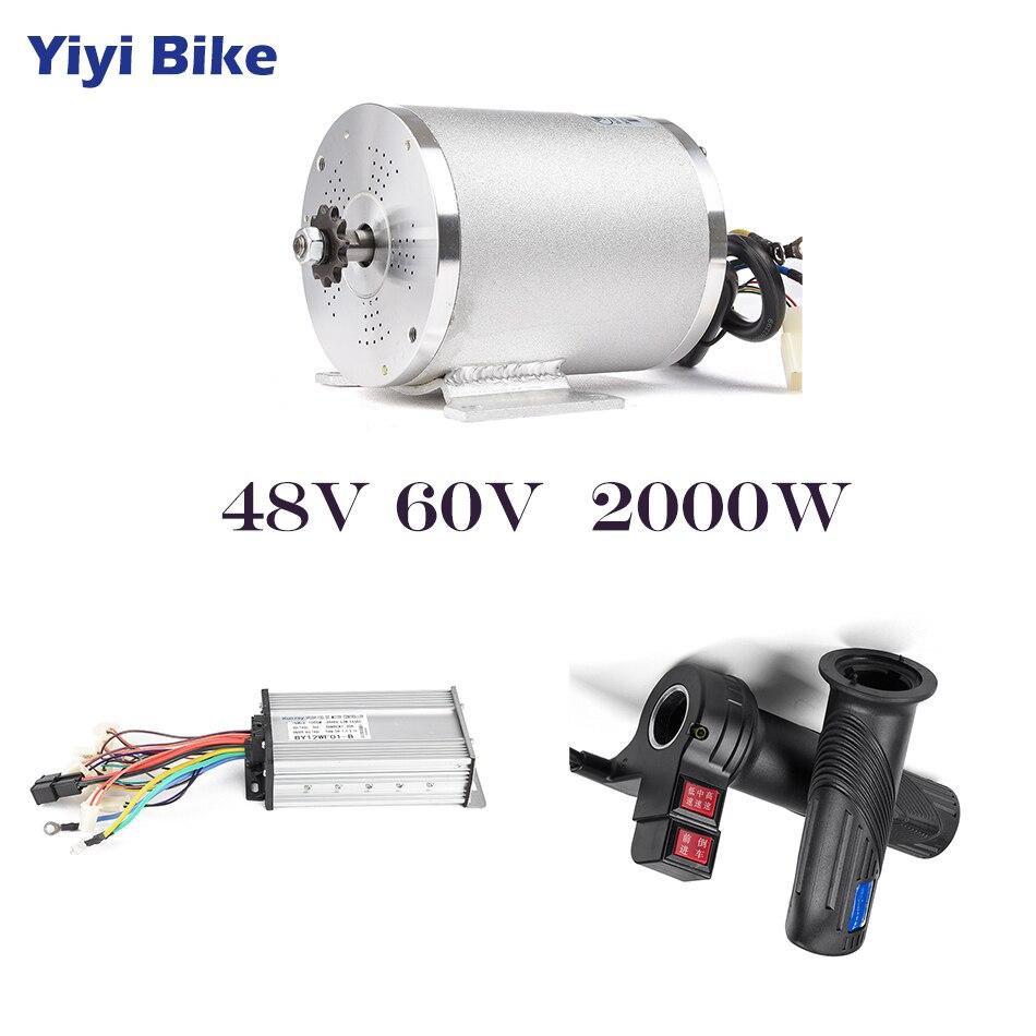48 v 60 v 2000 w motor elétrico para kit de conversão bicicleta scooter elétrico brushless controlador do motor com torção reversa acelerador