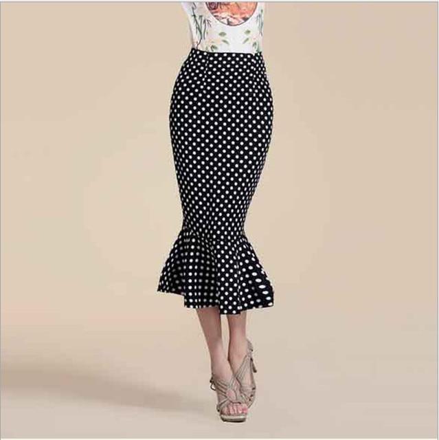 Nuevo 2015 mujeres del verano de faldas sirena punto moda larga de ...