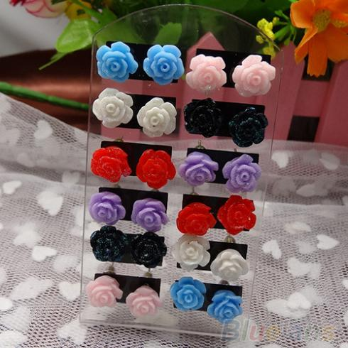 Bluelans 12 Pairs Rose Flower Stud Earring Mixed Color Whole Lot Nickel Free 004e