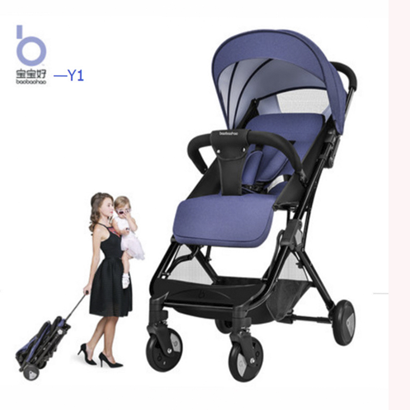 Can sit and lay ultra light baby stroller portable high landscape stroller foldable practical boys and girls stroller