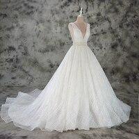 Vestido de Noiva A line lace wedding dress sexy deep v neck lace wedding gown custom made factory wholesale price bridal dress