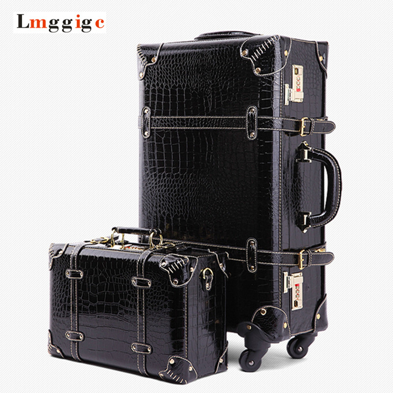 Vintage Luggage Bag,Black Retro Travel Suitcase,Rolling Trolley Carry-On,Universal wheels Rod Box,High quality PU Cosmetic case trolley travel bag hand luggage rolling duffle bags waterproof oxford suitcase wheels carry on luggage unisex small size