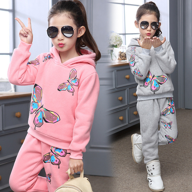 New Design Children Girls Clothing Set Fashion 2016 Thick Cotton Warm Hoodies+Casual Sports Pants 2 Pieces Suit Kids Clothes Hot