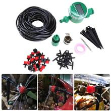 25m DIY Micro Drip Irrigation System Plant Automatic Self Watering Garden Hose Kits with Connector+ Adjustable Dripper