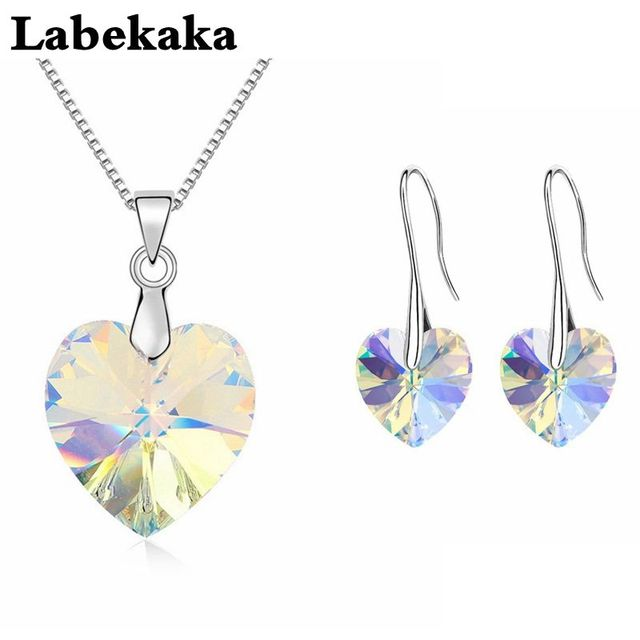 Labekaka 2017 original crystals from swarovski heart pendant labekaka 2017 original crystals from swarovski heart pendant necklaces earrings jewelry sets for women girls womens mozeypictures Images