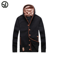 Hot Sales Autumn Winter Fashion Sweater Men Slim Fit Pollover Hoody Sweatershirts Male Solid Hooded Fleece