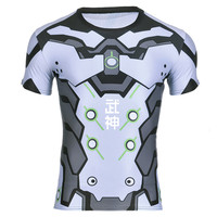 New Fitness Shirt For Men Anime Game OW Genji Printed 3D T Shirt Bodybuilding Crossfit T