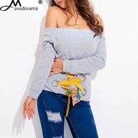 Avodovama M New Fashion Women Elegant Off Shoulder Shirt Casual Sexy Slash Neck Long Sleeve Bandage