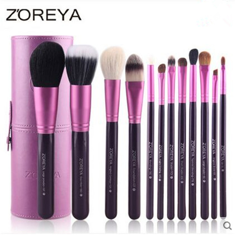 2016 Hot Selling ZOREYA Brand 12pcs Natural Goat hair Makeup Brushes Professional Beauty Brush set Free Shipping